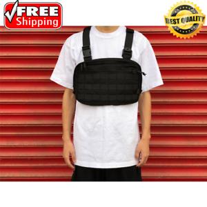 NEW Black Men Chest Bag Adjustable Oxford Tactical Chest Rig Hip Hop Streetwear