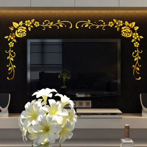 3D DIY Art Mirror Wall Stickers Flower Acrylic Mural Decal Home Room Decortion/_