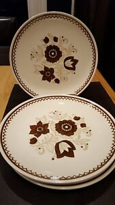 Details about Set of 4 Royal China Cavalier Ironstone Dinner Plates - Nutmeg