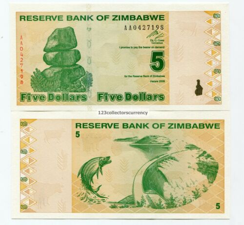 Zimbabwe $5 New Dollar Banknote 2009 Equivalent to Previous 500 Trillion P93