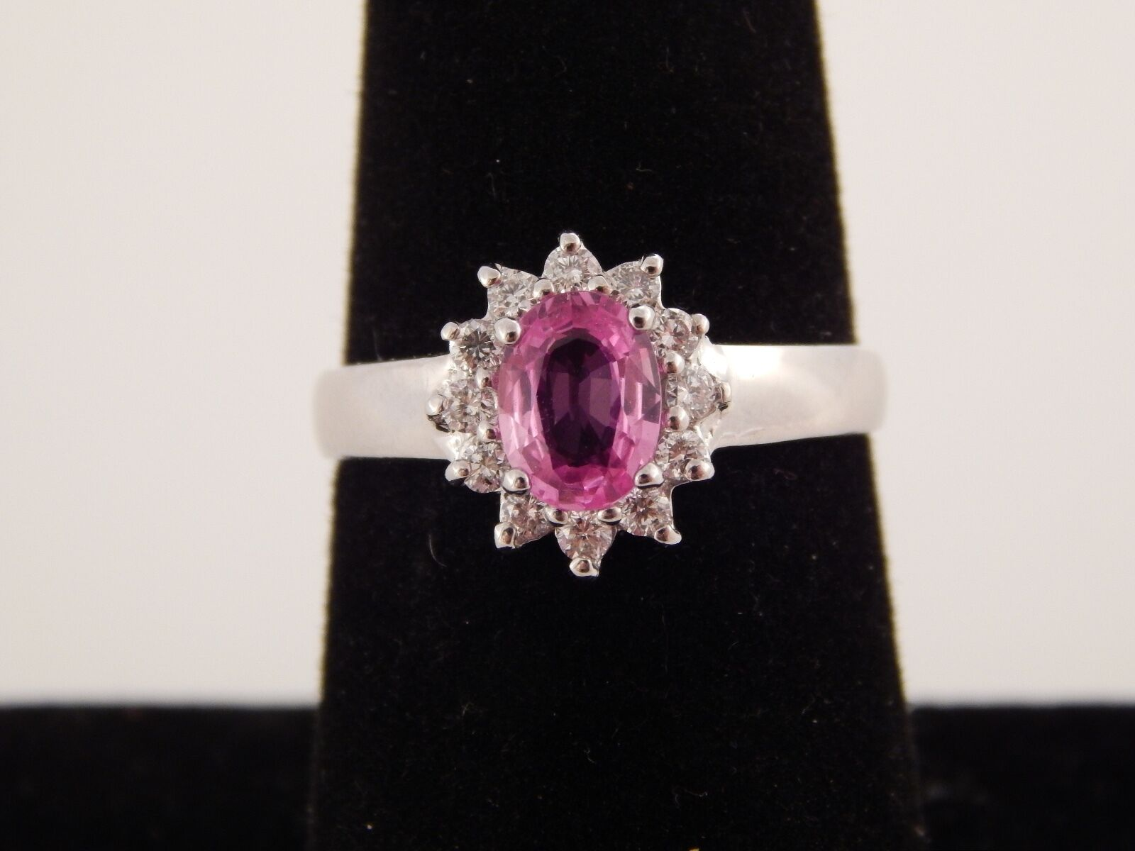 .98 tcw Natural AAA Pink Sapphire Diamond Halo G SI 14k White gold Designer Ring