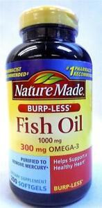 Nature Made Burpless Fish Oil 1000 mg w. Omega-3 300 mg Softgels 200 ct 12/2022