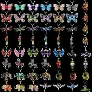 Fashion-Womens-Crystal-Enamel-Butterfly-Animals-Pendant-Necklace-Chain-Jewellery