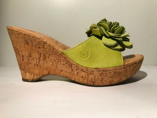 Born Leather wedge Light Green Sandals w/flower d… - image 1