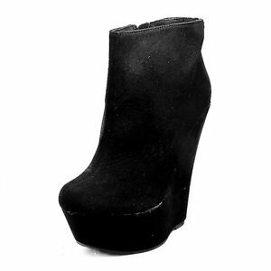 Ladies-Black-Suedette-high-heel-and-platform-ankle-boots
