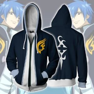 FAIRY TAIL Anime Hoodie Sweatshirts Cosplay Zipper Coat Hooded Jacket Costume