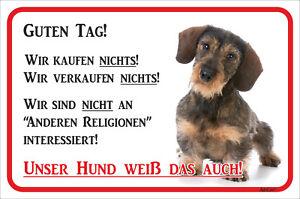 Dackel Rauhaar Schild Vorsicht 15x20-40x60cm Teckel Bissiger Hund