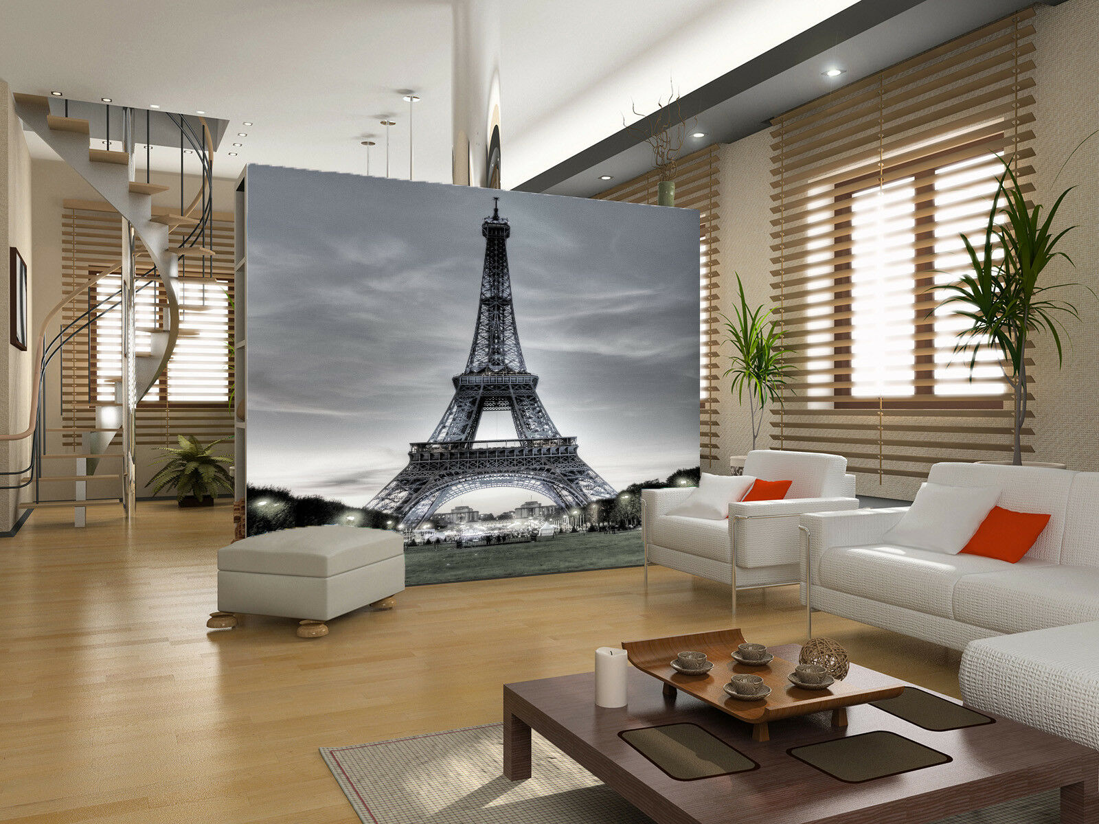 3D grau Sky Paris Tower 67 Wall Paper Wall Print Decal Wall Deco Indoor Mural
