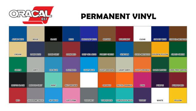 """ORACAL 651 or 631 VINYL 12/"""" x 10 Feet Roll Assorted Colors to Choose From"""