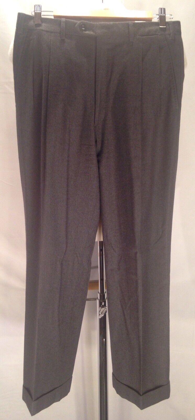 F429 Brioni Charcoal Moudi 100% Wool Pleated Dress Pants Trousers Super 150s