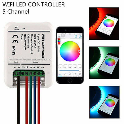 ARILUX WiFi LED Controller 16 Million Color 5CH RGB WW/CW 12-24V For IOS Android