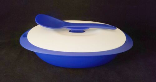 FREE SHIP Tupperware Essentials Serving bowl with Spoon Entertain New Tokyo Blue