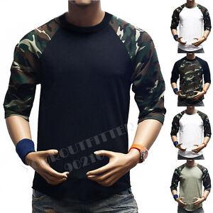 Men-3-4-Sleeve-Camouflage-Baseball-T-Shirt-Raglan-Fashion-T-Casual-Sports-S-3X