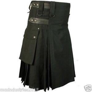 Black Deluxe kilt Utility Fashion Kilt For Men (3 Day DHL Service)