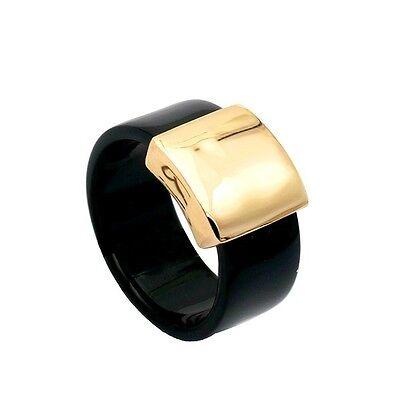 18K GP Gold Plated Black Acrylic Unisex Men Women Ring Size : 6 7 8 9 10 11