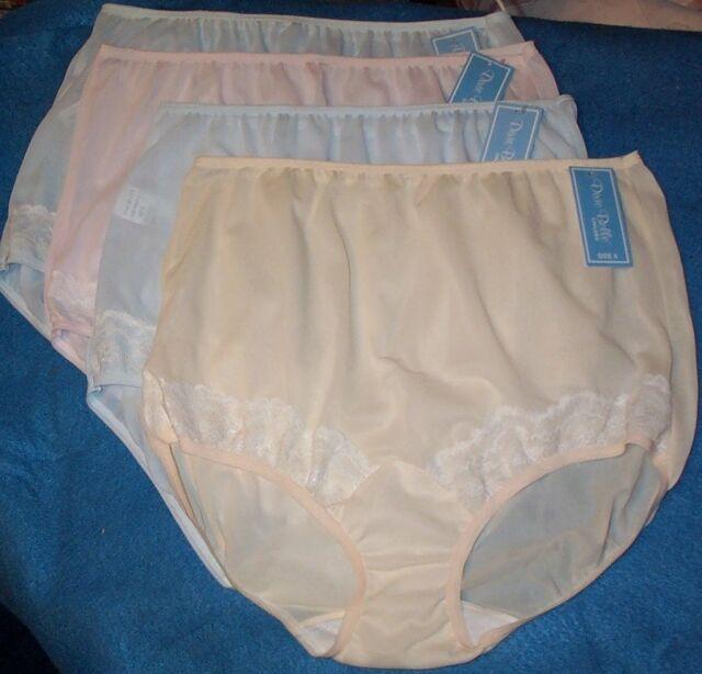 4 Pair Size 6 Pastel EMBOSSOLON Nylon HIP HUGGER Panties  USA Made