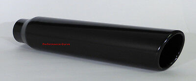 """Black Stainless Steel Exhaust Tip 2.5"""" Inlet - 3.5"""" Outlet - 18"""" Long"""