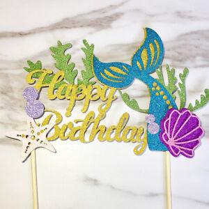 Starfish-Mermaid-Happy-birthday-Cake-Toppers-Cupcake-Baby-Shower-DIY-Gifts-xk