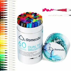 60 Colors Dual Tips Drawing Pens Fine Tip Paint Watercolor Brush Art Markers Set
