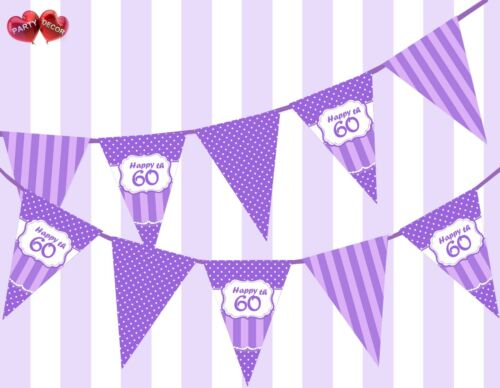 Pretty Purple Happy 60th Birthday Vintage Polka Dots Theme Bunting Banner Party