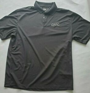 Nike-Golf-Polo-Shirt-Adult-Xlarge-Gray-Dri-Fit-Mens-embroidered-034-Civic-034-Logo