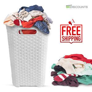 45L-Rattan-Quality-Plastic-Laundry-Bin-Washing-Multi-Storage-Basket-Box-White-WT