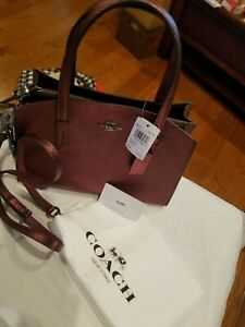 1c0ebd457 COACH Metallic Leather Charlie 28 Carryall Berry NWT $275 Crossbody ...