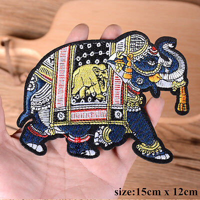Elephant Patch Iron Sew On Clothing Embroidered Badge Animal Embroidery Applique