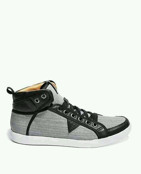 Guess Jean High Top Sneakers Grey Black shoes Lace Up Size 11.5