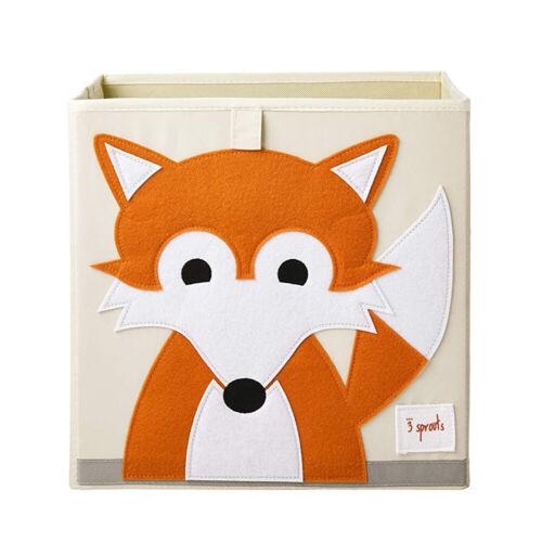 3 Sprouts Kids Childrens Foldable Fabric Storage Cube Bin Box Orange Fox Design