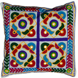 Image Is Loading Ethnic Embroidery Cushion Covers 40cm 16 034 Washable