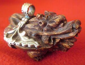 Buddhist-Carved-Wood-amp-Silver-Temple-Guardian-Dragon-Pendant-Bhutan