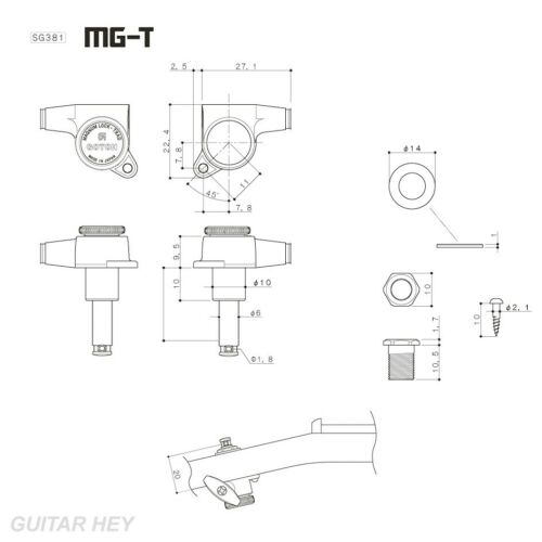 CHROME NEW Gotoh SG381-05 MGT MAGNUM LOCKING TRAD OVAL SM Buttons Keys Set 3x3