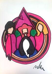 Marco-LODOLA-Pink-Floyd-disegno-su-carta-30x42-cm-opera-unica-firmato