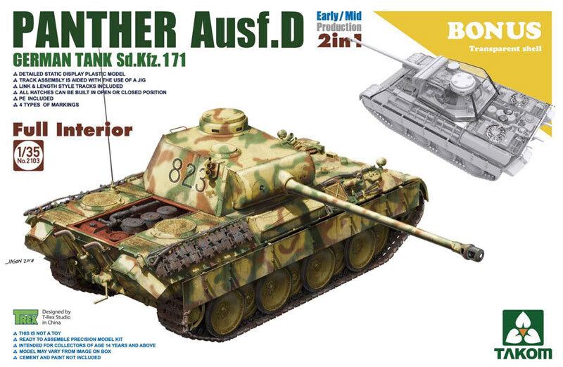 Takom 1  35 Sd.Kfz.171 Panther Auf.D med fullständig intern Early  Mid (2 i 1)