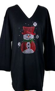 PLUS-3X-Top-Rhinestone-Embellished-Christmas-Red-Top-Hat-amp-Cape-Snowman-Design