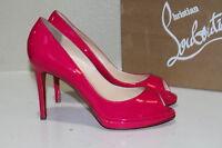 Sz 7 / 37 Christian Louboutin Yolanda Pink Patent Leather Pump Sandal Shoes