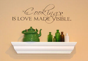 Wall Decals Quote Cooking Is Love Made Visible Vinyl Wall Stickers