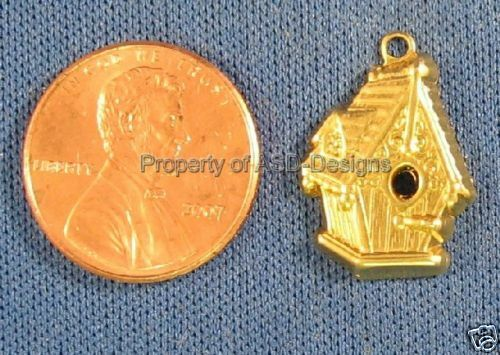50pc Raw Brass Hanging Bird House Charms 4290