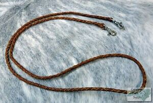 LIGHT-OIL-Braided-Leather-Western-Roping-Rein-w-Snaps-NEW-HORSE-TACK