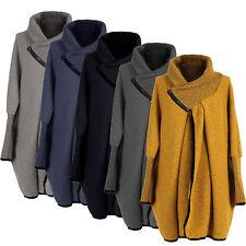 New Ladies Womens Wool Mix Cocoon Lagenlook Coatigan Jacket Coat Plus Size 16-24