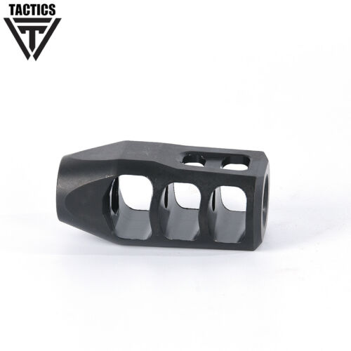 """.300 308 Steel Black Muzzle Brake 5/""""//8x24 Thread with Crush Washer and Jam Nut"""