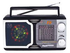 QFX R-14 AM/FM/TV/SW1-SW9 12-Band Portable Mini Radio +Disco Light Speaker