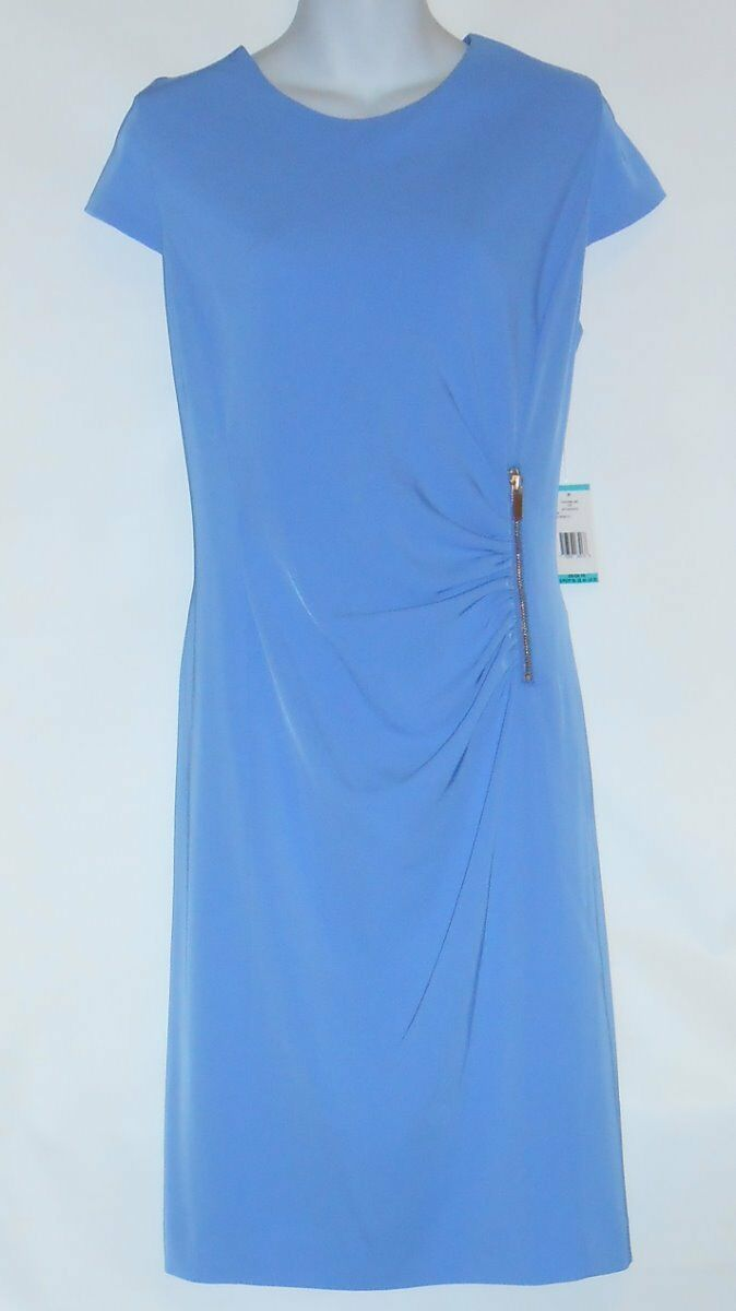 Jones New York Dress Semi Wrap Shirred Dress Wedgewood Eight (8) NWT