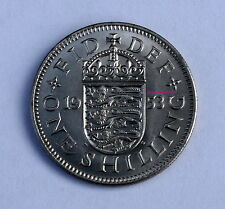 1953 QEII CORONATION YEAR English Arms Shilling 1/- old BOB Looks uncirculated