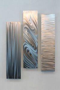 Silver-Multi-Panel-Modern-Metal-Wall-Art-Sculpture-Stylish-Trio-by-Jon-Allen