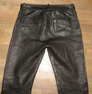 GENUINE-LEATHER-Herren-LEDERJEANS-Biker-Lederhose-in-schwarz-ca-W36-034-L30-034
