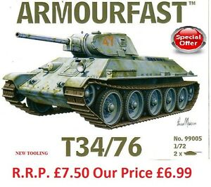 NOUVEAU-Armourfast-1-72-T34-76-Maquette-De-Tank-Kit-Contient-2-Chars-13272