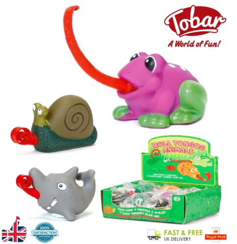 Tobar ROLL TONGUE ANIMAL Novelty Party Bag Gift Stocking Filler Kids Toy Animals