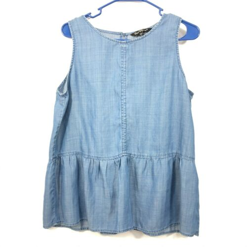 Velvet Heart Chambray Peplum Tunic Top Sleeveless